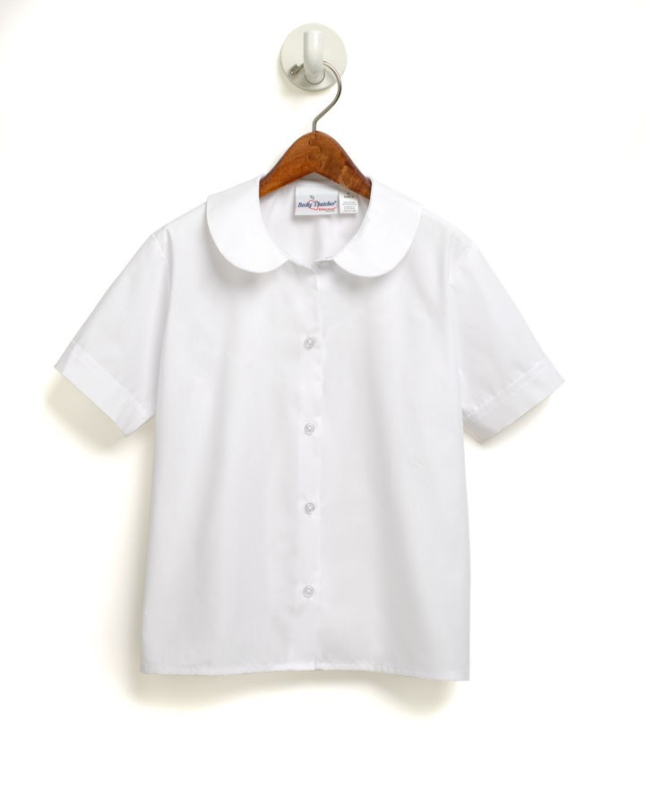Girls' White S/S Pointed Collar Blouse