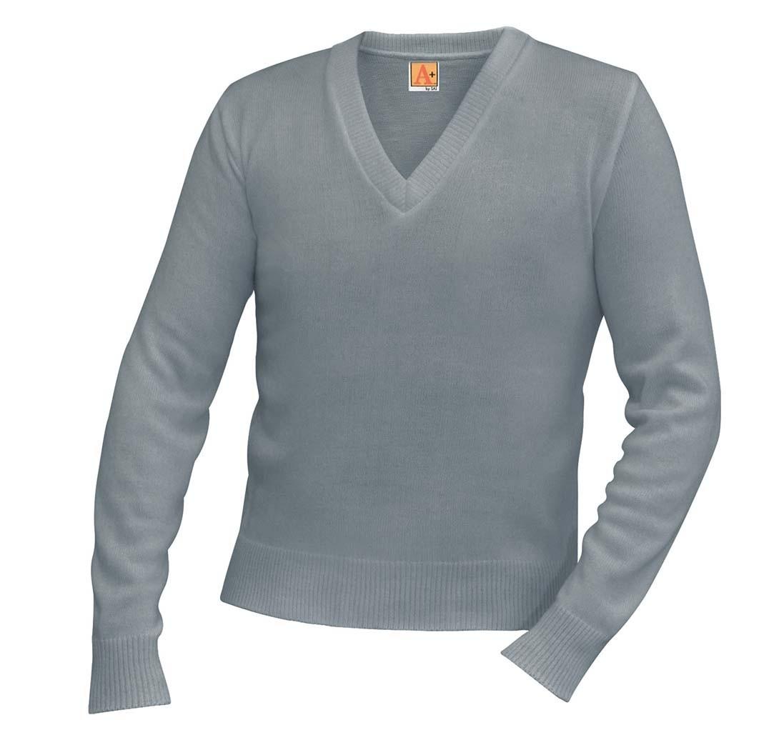 RES Grey V-Neck w/ Logo - 8th Grade Only