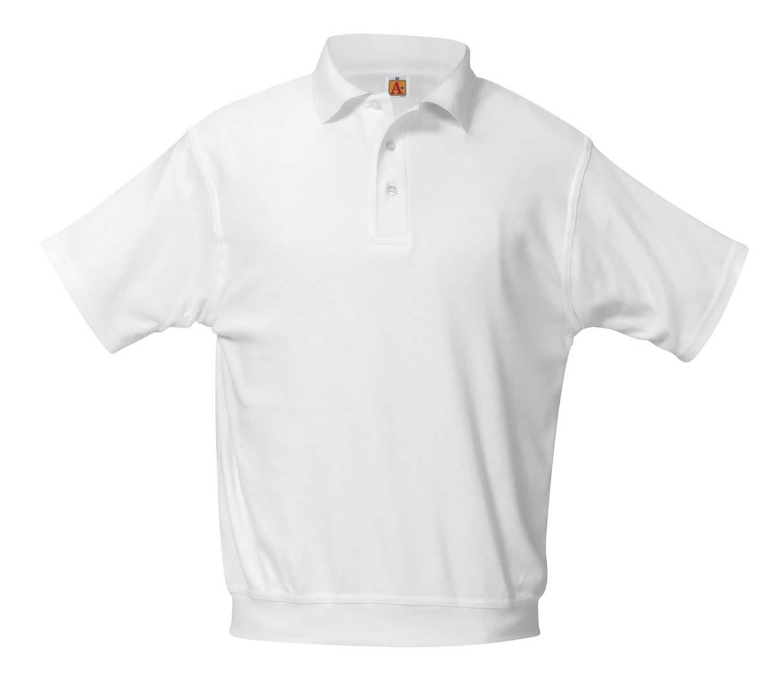 PHS White/Ash S/S Banded Bottom Polo w/ Logo