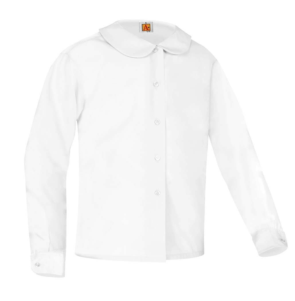 RES Girls' White L/S Round Collar Blouse