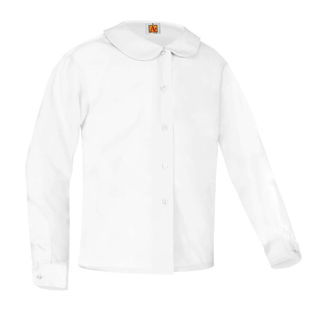 SJS Girls' White L/S Round Collar Blouse