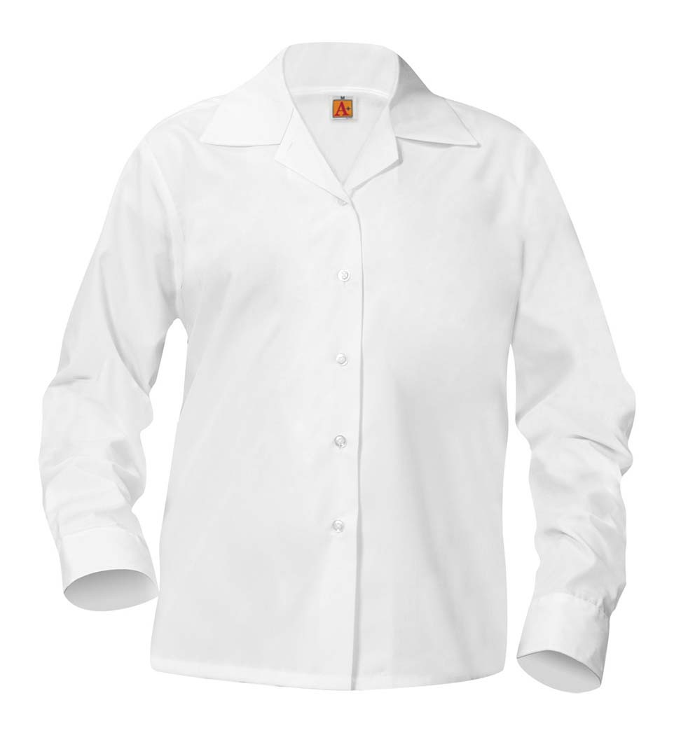 Girls' White L/S Pointed Collar Blouse