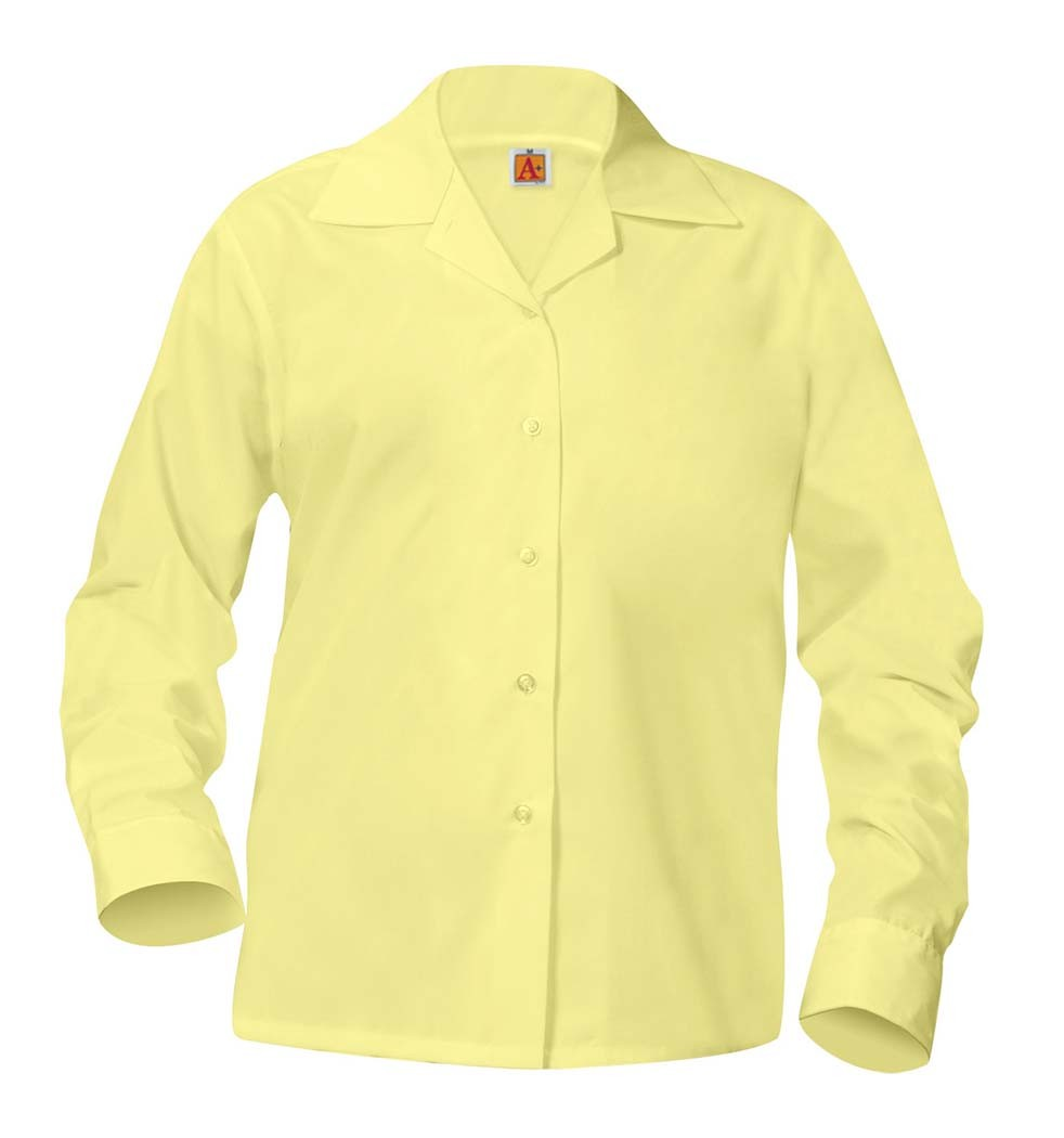 Girls' Yellow L/S Pointed Collar Blouse