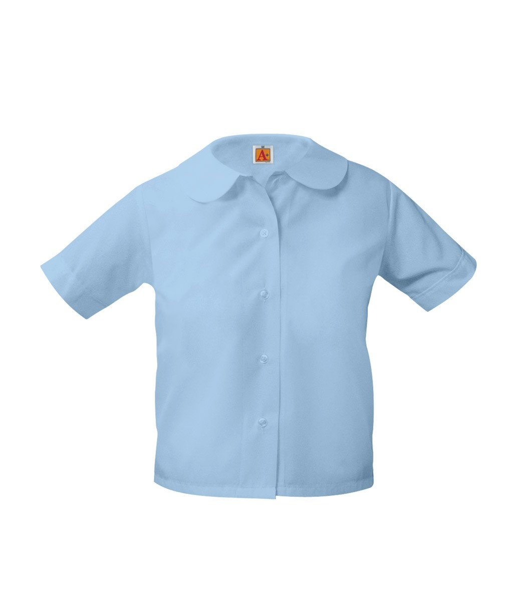 GIRLS' STORE S/S Round Collar Blouse - Available in White, Yellow & Light Blue