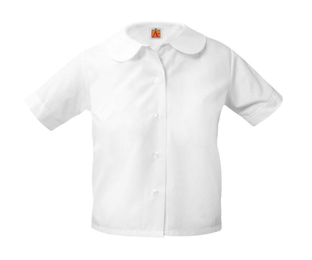 SPS Girls' White S/S Round Collar Blouse