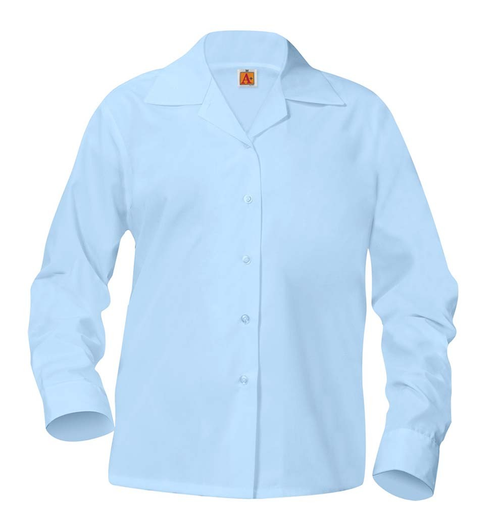 Girls' Blue L/S Pointed Collar Blouse