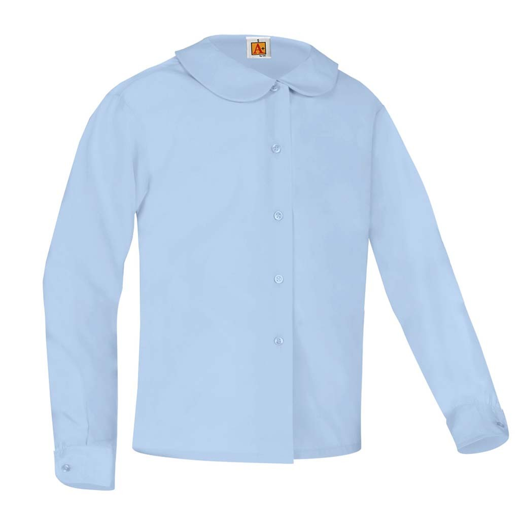 Girls' Blue L/S Round Collar Blouse