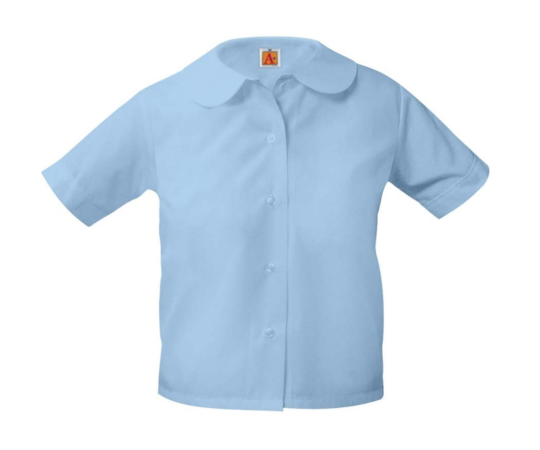 Girls' Blue S/S Round Collar Blouse