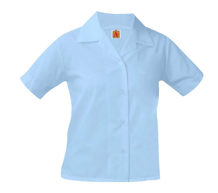 Girls' Blue S/S Pointed Collar Blouse