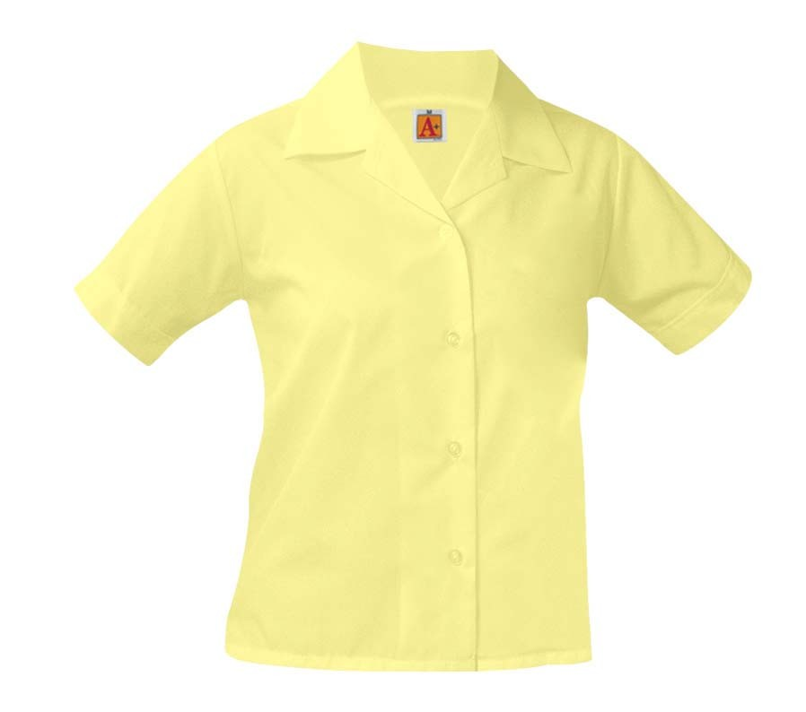 Girls' Yellow S/S Pointed Collar Blouse