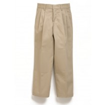 Khaki Pleated Adjustable Waist Pant