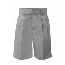Elastic Back Pleated Grey Dress Shorts