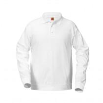Preston White/Ash L/S Banded Bottom Polo w/ Logo