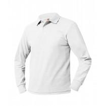 SJS L/S White Polo w/ Logo