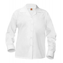 L/S Pointed Collar Blouse w/ Pocket - Available in White, Light Blue & Yellow