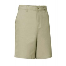 Boys' Flat-Front Adjustable Waist Khaki Dress Shorts w/ School Logo (Spring/Fall)