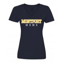 Montfort Spirit S/S Women's V-Neck T-Shirt w/ Montfort Moms Logo - Please Allow 2-3 Weeks for Delivery