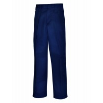 Navy Pleated Adjustable Waist Pants