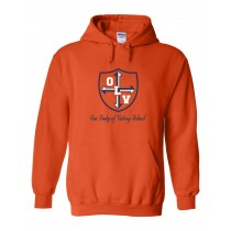 OLV Spirit Pullover Hoodie w/ Navy Logo - Please Allow 2-3 Weeks for Delivery