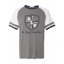 OLV Spirit S/S Vintage T-Shirt w/ Navy Logo - Please Allow 2-3 Weeks for Delivery