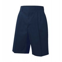Elastic Back Pleated Dark Navy Dress Shorts w/ Logo