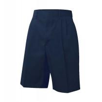 Elastic Back Pleated Dark Navy Dress Shorts