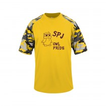 SPJ Owl Pride S/S Camo Spirit T-Shirt w/logo - Please Allow 2-3 Weeks for Delivery