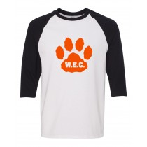 W.E.C. Spirit Three Quarter Sleeve Ringer T-Shirt w/ Paw Logo* - Please Allow 2-3 Weeks for Delivery